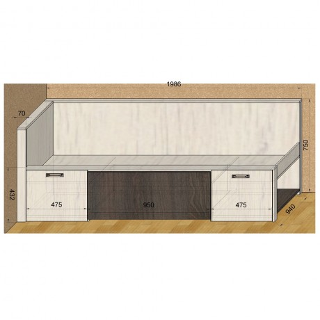 67. Кровать со спинкой (схема)